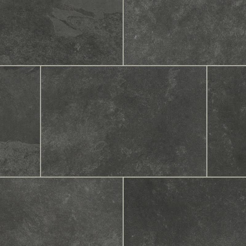 Karndean Knight Tile Vinyl Flooring In Black Riven Slate St15